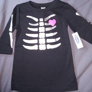 Nwt girls shiny skeleton dress old navy 6-12 mth